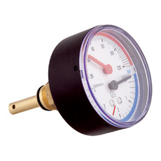 """Термоманометр осевой TM 10 bar 20°С - 120°С 80 мм с отсечым клапаном 1/2""""НР Afriso"""