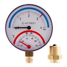 """Термоманометр радиальный TM 4 bar 20° - 120° С 80 мм с отсечым клапаном 1/2""""НР Afriso"""