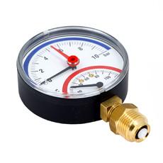 """Термоманометр радиальный TM 10 bar 20° - 120° С 80 мм с отсечым клапаном 1/2""""НР Afriso"""