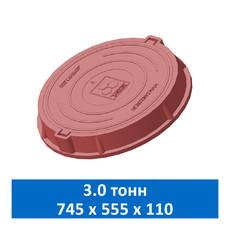 Люк легкий канализационный 3.0 т Сандкор красный