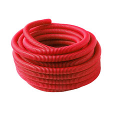 Труба гофрированная (пешель) 18 мм х бухта 50 м, красная, РБ