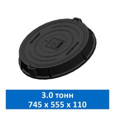 Люк легкий канализационный 3.0 т Сандкор черный