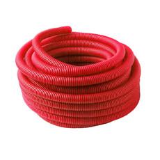 Труба гофрированная (пешель) 28 мм х бухта 50 м, красная, РБ